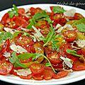 Carpaccio de tomates à la parmesane