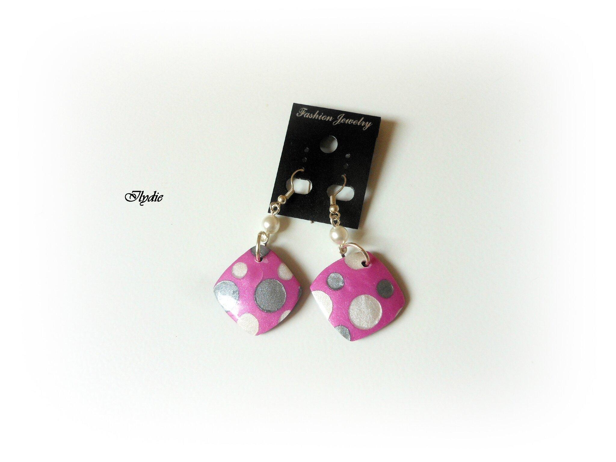 Bo1 2014 Boucles d'oreilles lentille carré petits pois rose/gris/nacre