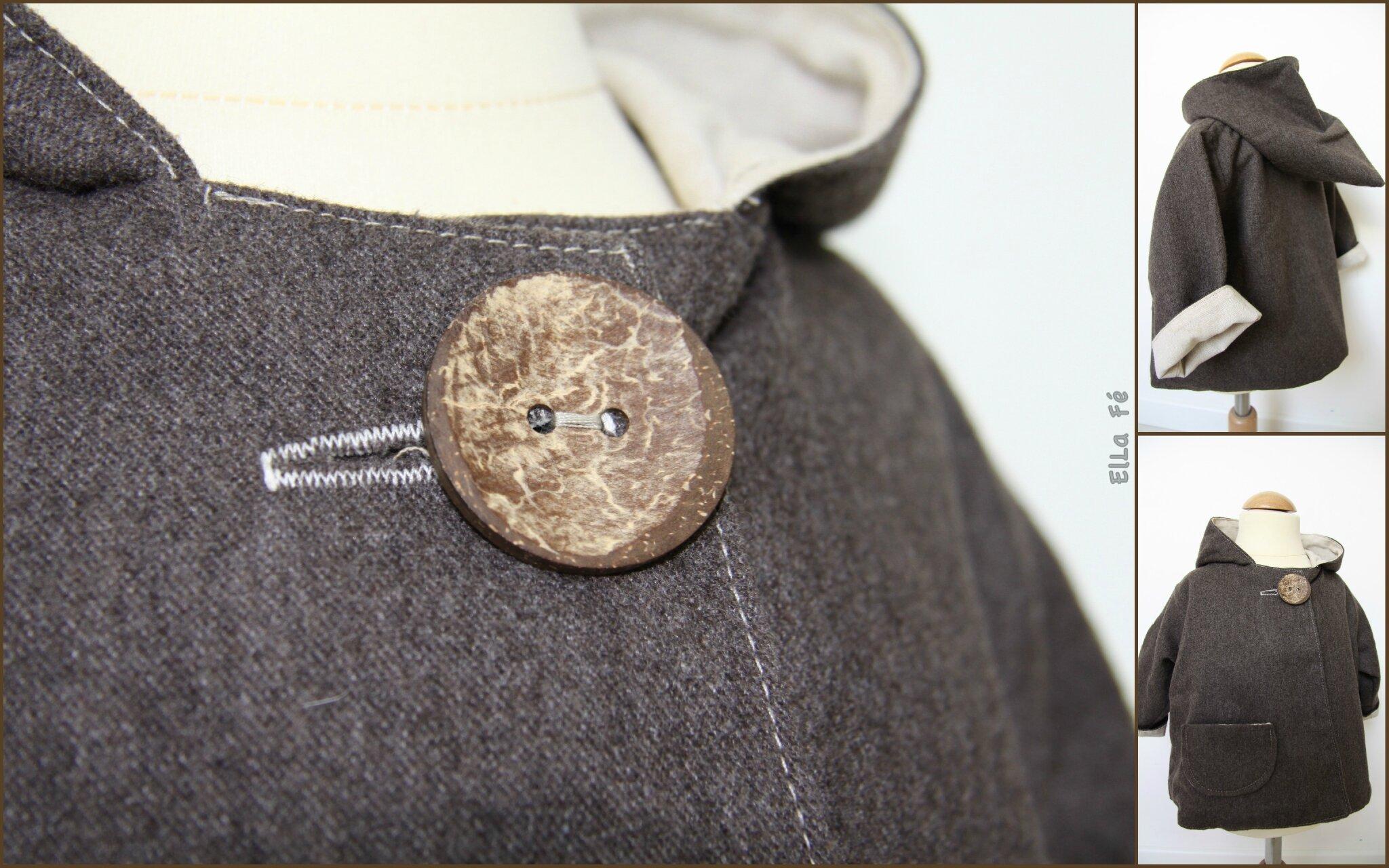 Manteau laine bouillie doublé coton