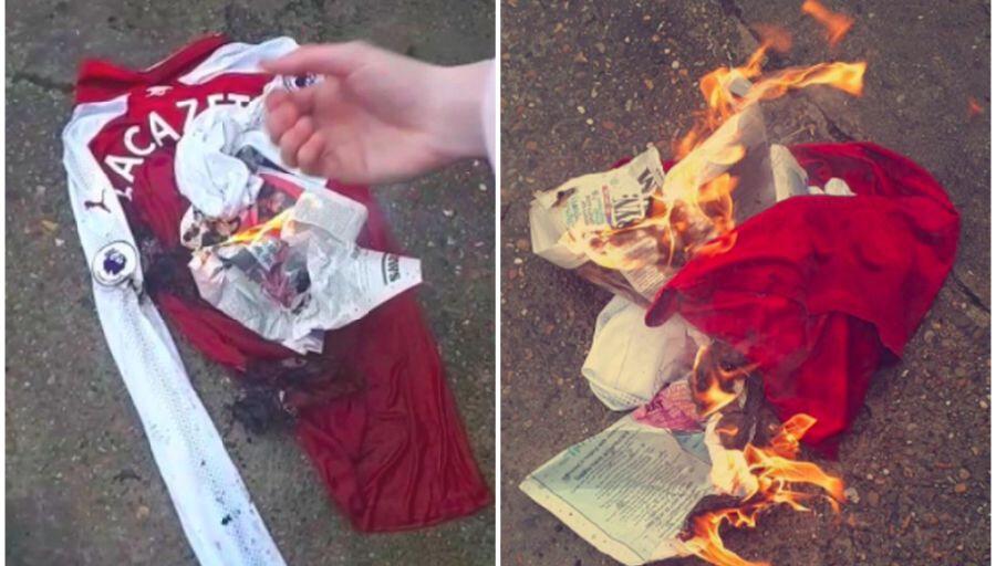 Un fan d'Arsenal brûle le maillot de Lacazette !