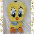 Peluche doudou titi range pyjama jaune mouchoir bleu jemini 42 cm