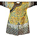 An impressive chinese imperial yellow dragon robe, (longpao jifu), qing dynasty (1644-1911), daoguang period (c. 1820)