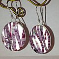 BO fimo, polymer clay random stripes earrings