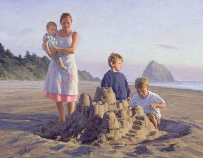 Résultat d'images pour peinture enfants a la plage