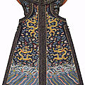 A very rare imperial midnight-blue dragon vest, chaogua, 19th century