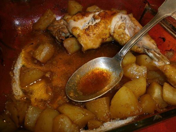 Poulet marinade pommes de terre au four l 39 atelier de la corvette - Cuisse de poulet au four ...