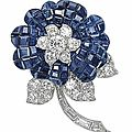 A mystery-set sapphire and diamond flower brooch, by van cleef & arpels