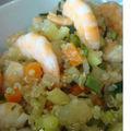 Salade de quinoa et legumes aux crevettes