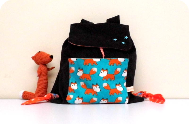 sac maternelle marron renards