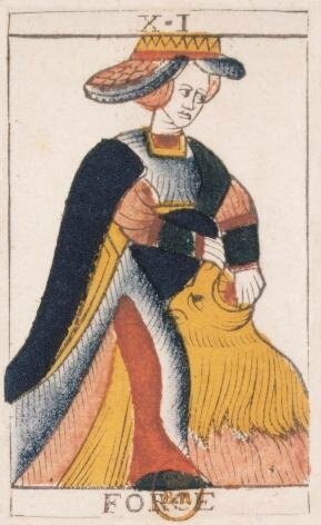 carte XI FORCE - tarot Noblet Paris ca 1650 - letarodotcom