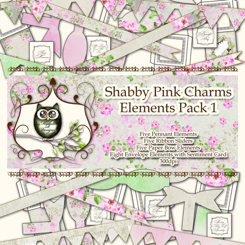Shabby Pink Charms Elements Pack 1 Front Sheet