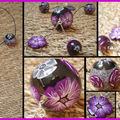 Collier trois grosses boules noir et violet