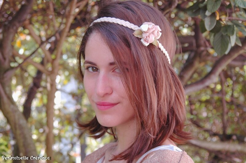 Headband mariage roses capuccino ivoire