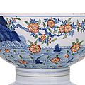 A good doucai porcelain bowl with prunus blossoms. underglaze blue chenghua six-character mark, kangxi-yongzheng period