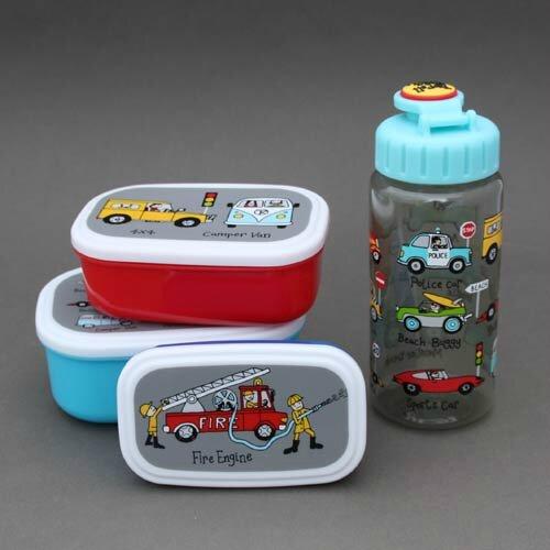 Lot 3 boites à goûter - déjeuner et gourde Voitures et camions sans BPA Tyrrell Katz enfants