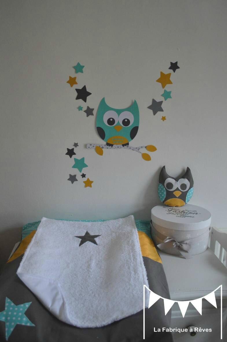 D coration chambre enfant mixte turquoise jaune moutarde gris hibou toiles stickers housse for Decoration chambre bebe hibou