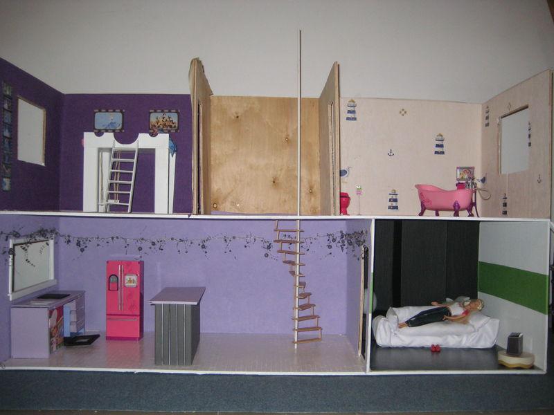 Fabrication d 39 une maison de poup e barbie littlenounie - Plan de maison de barbie ...