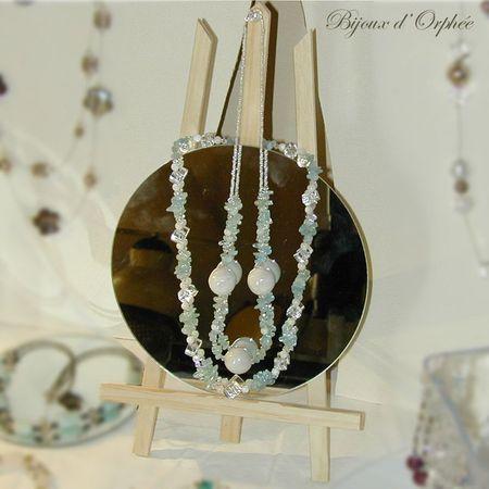 creation bijoux fantaisie collier ceramique aigues marine nacre