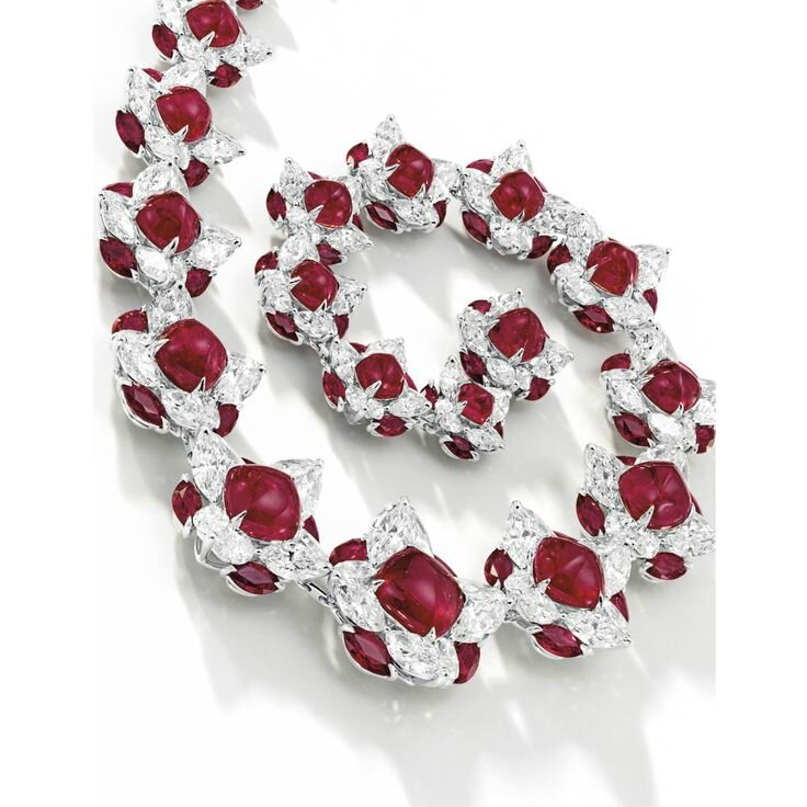The Fai Dee Red Blossom Set. Fine Ruby and Diamond Necklace and Pair of Matching Earrings, Faidee