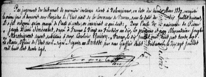 an 10, Fresnes, naissance, SENECAUT, Pierre Joseph Désiré, 2