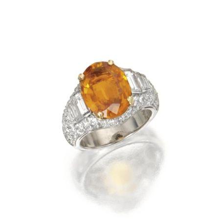 Platinum__Orange_Sapphire_and_Diamond_Ring__Bulgari
