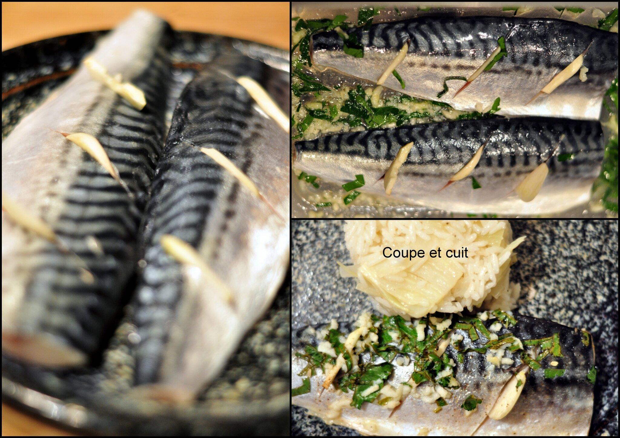 Filets de maquereau marin s et riz au fenouil citronn coupe et cuit - Maquereau grille au four ...