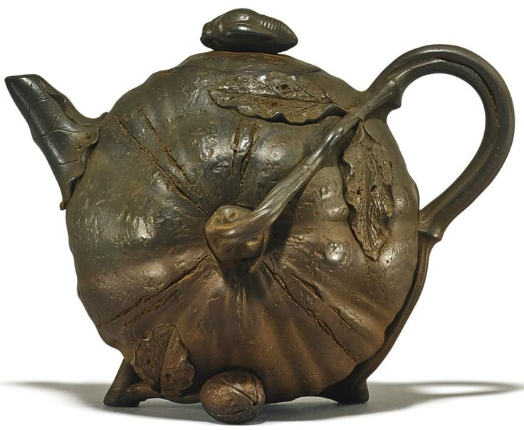 A Yixing 'Pumpkin' teapot and cover
