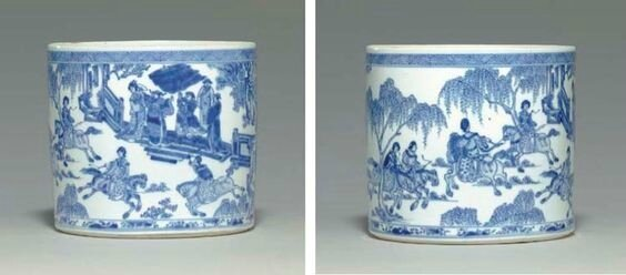 A rare blue and white brushpot, bitong, early Kangxi period, circa 1670