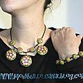 collier + bracelet fleurs spirales vert