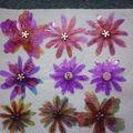 fleurs faites avec des transparents et encrées avec de l encre à alcool