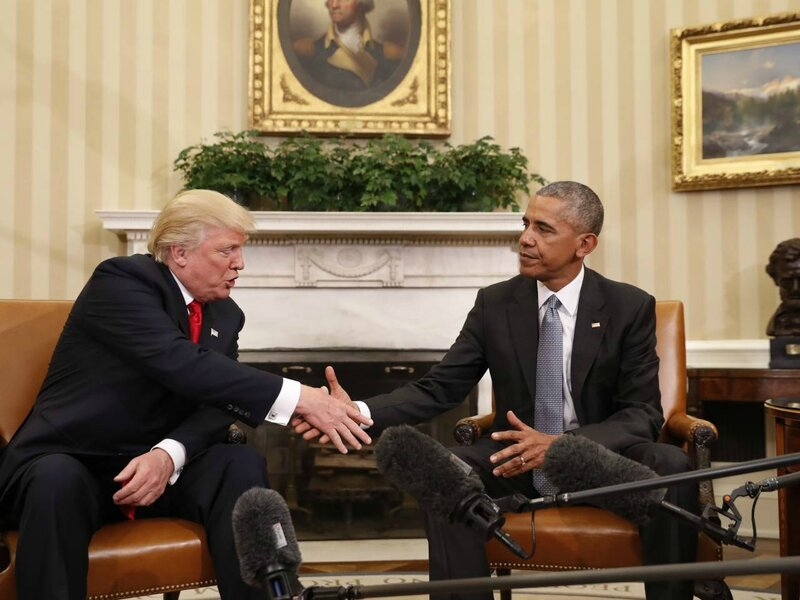 Donald Trump and Barack Obama at the White House 2