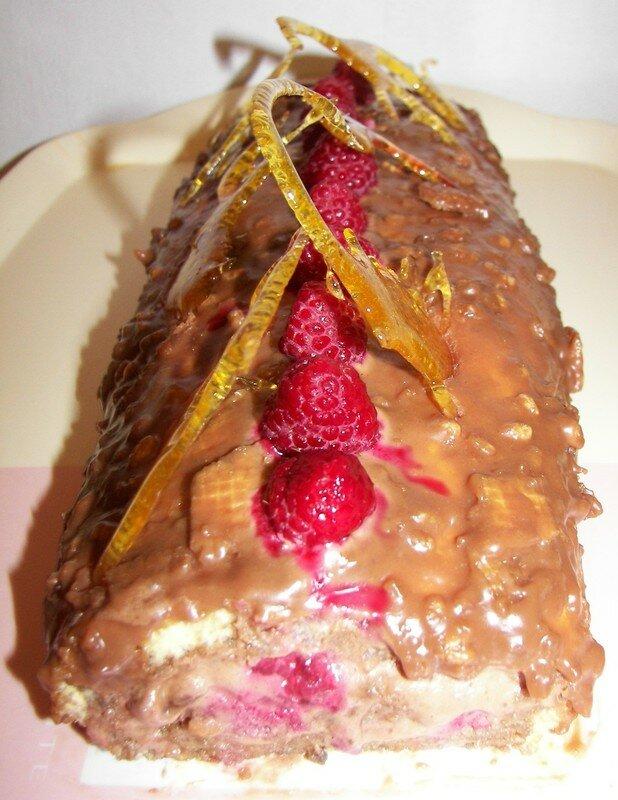 Roulé à la mousse au chocolat et framboises