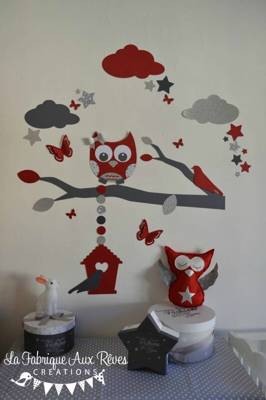 d coration chambre enfant b b rouge gris blanc argent hibou chouette papillons et toiles. Black Bedroom Furniture Sets. Home Design Ideas