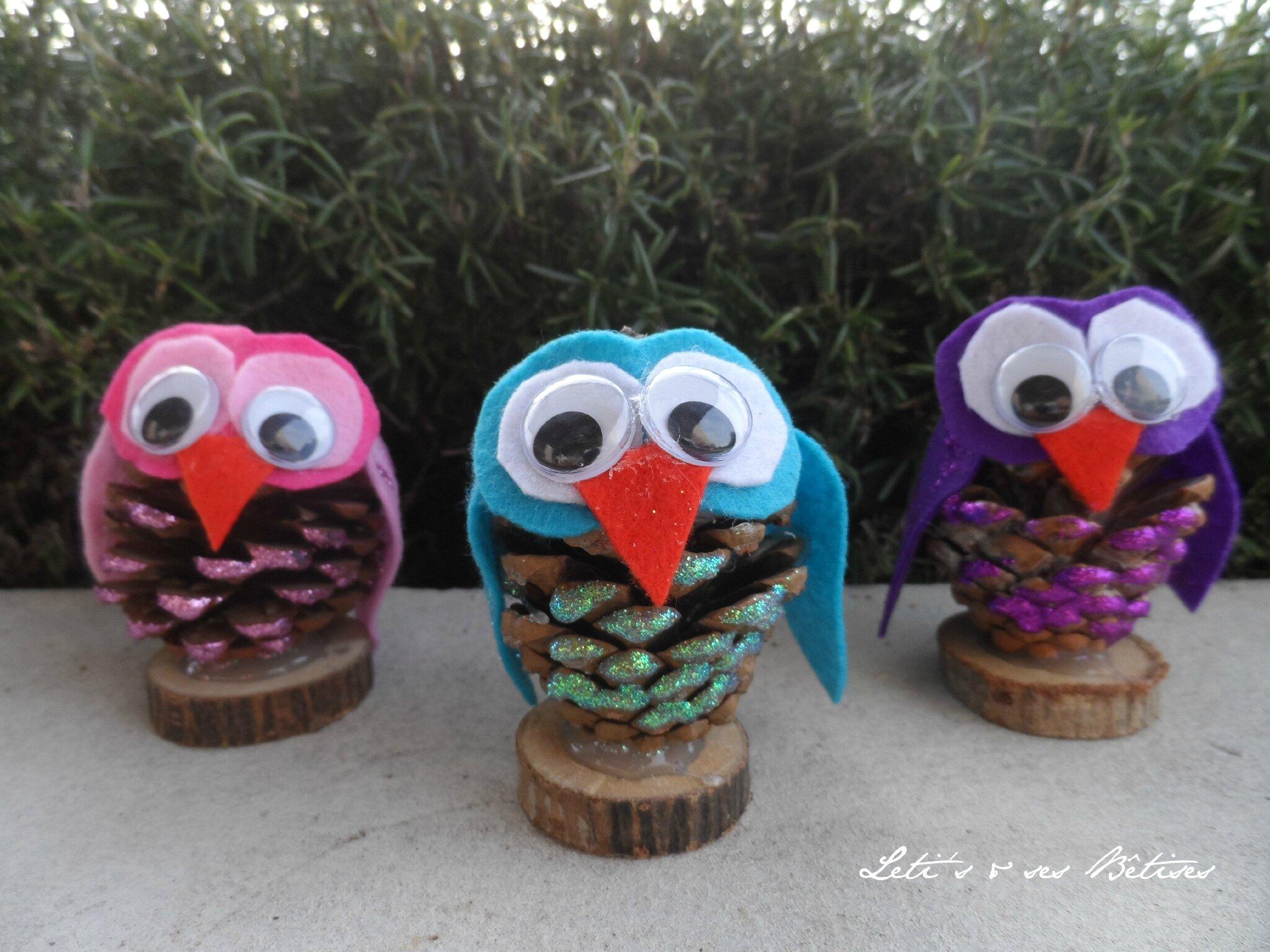Pinecone owl leti 39 s ses betises - Creation avec des pommes de pin ...
