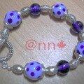 Bracelet argent, lampwoork bleu à pois (N)