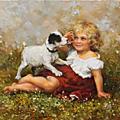 Arthur, john elsley : peintre des enfants avec leurs animaux de compagnie