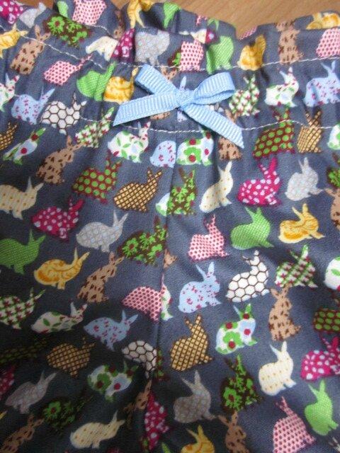 Culotte BIANCA en coton gris imprimé lapins multicolores - noeud vichy ciel - taille 44-46 (3)