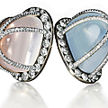 A pair of moonstone, quartz and diamond ear clips, by jar