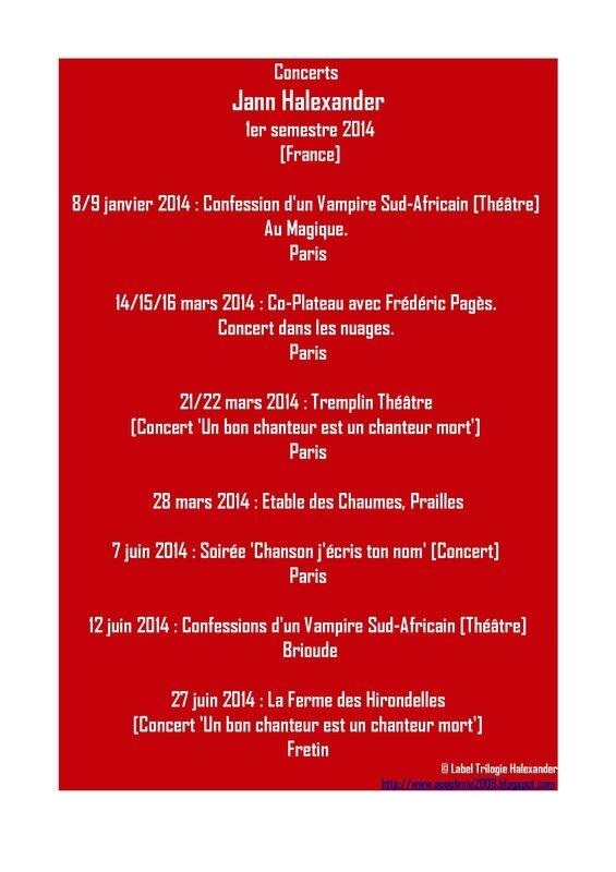 Concerts Jann Halexander premier semestre 2014