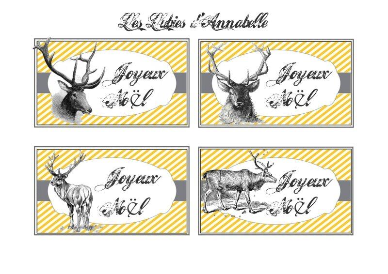 carte étiquette noël renne gratuite à imprimer