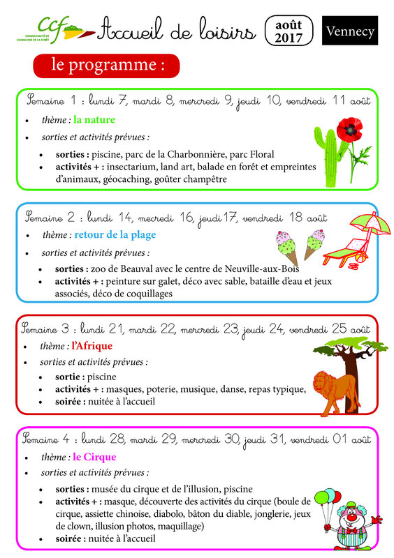 planning AOUT vennecy