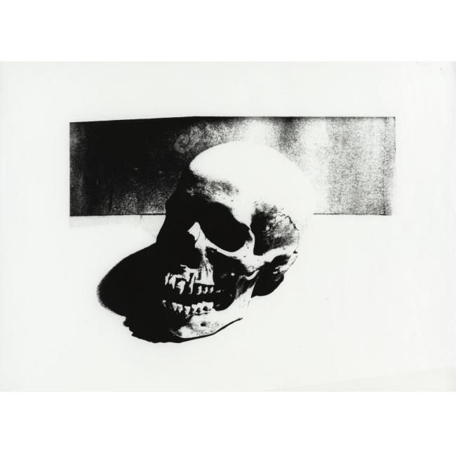 Andy Warhol (1928 - 1987), Skull, unique screenprint on torn graphics paper. 20 by 27 in. 50.8 by 68.6 cm. Executed circa 1976, this work is stamped by the Estate of Andy Warhol and the Andy Warhol Foundation for the Visual Arts, Inc. and numbered UP 65.04