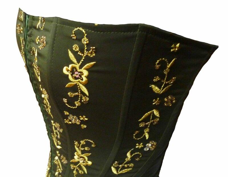corset soiree kaki brode perles or (6)