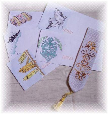 Marq.Pages et enveloppes coloriées Chantal M & sa fille