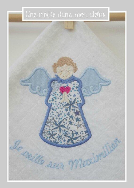lange-personnalisé-ange gardien-Liberty adelajda bleu