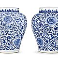 A large pair of blue and white 'chrysanthemum' baluster jars, qing dynasty, kangxi period