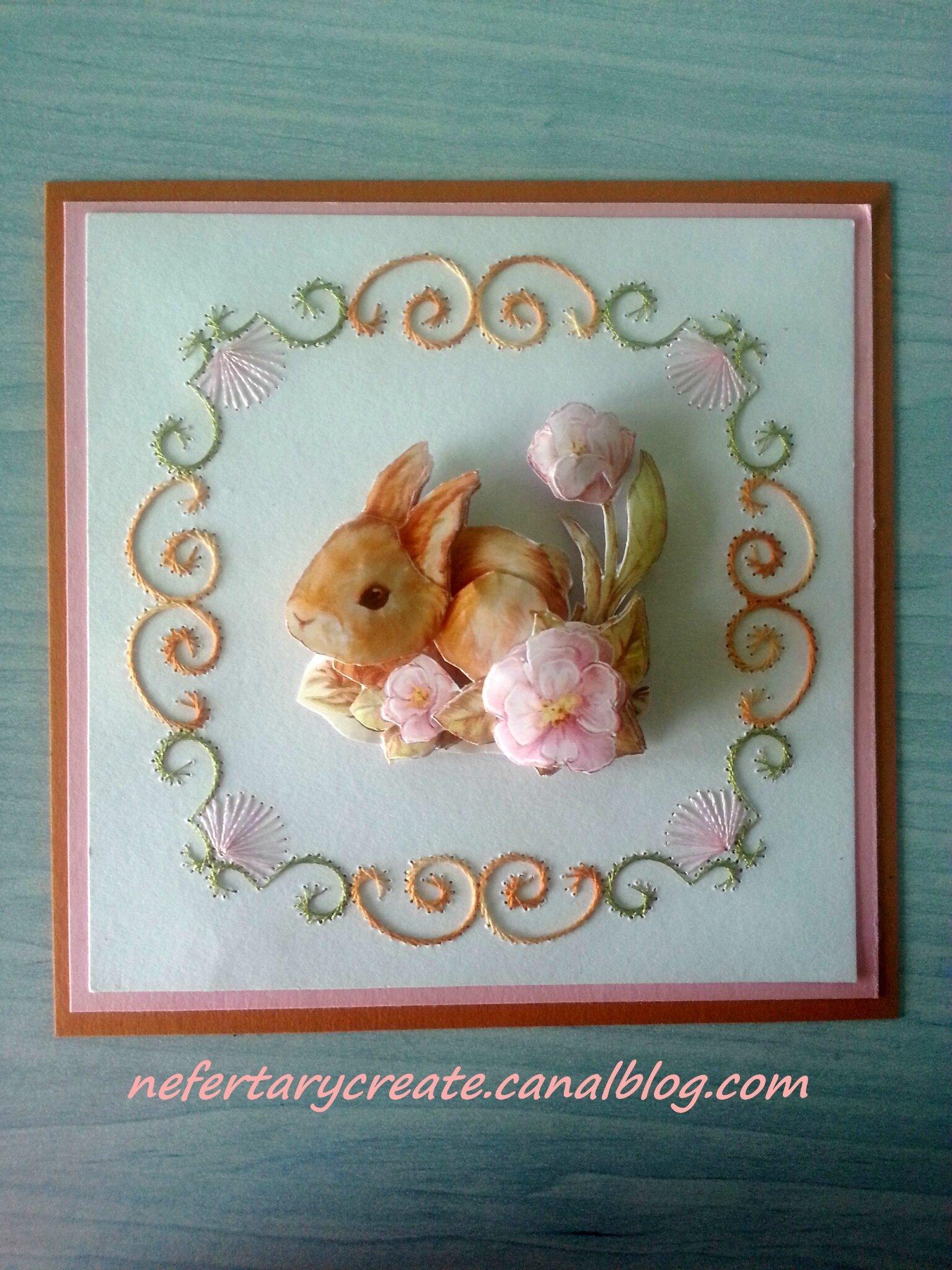 Carte brodée lapin