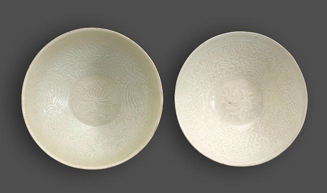 Two molded qingbai bowls imitating Dingyao, Southern Song-Yuan dynasty, 13th-14th century