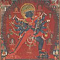 A painting of chakrasamvara and vajravarahi, nepal, dated 1513