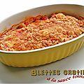 Blettes gratinées à la sauce tomate